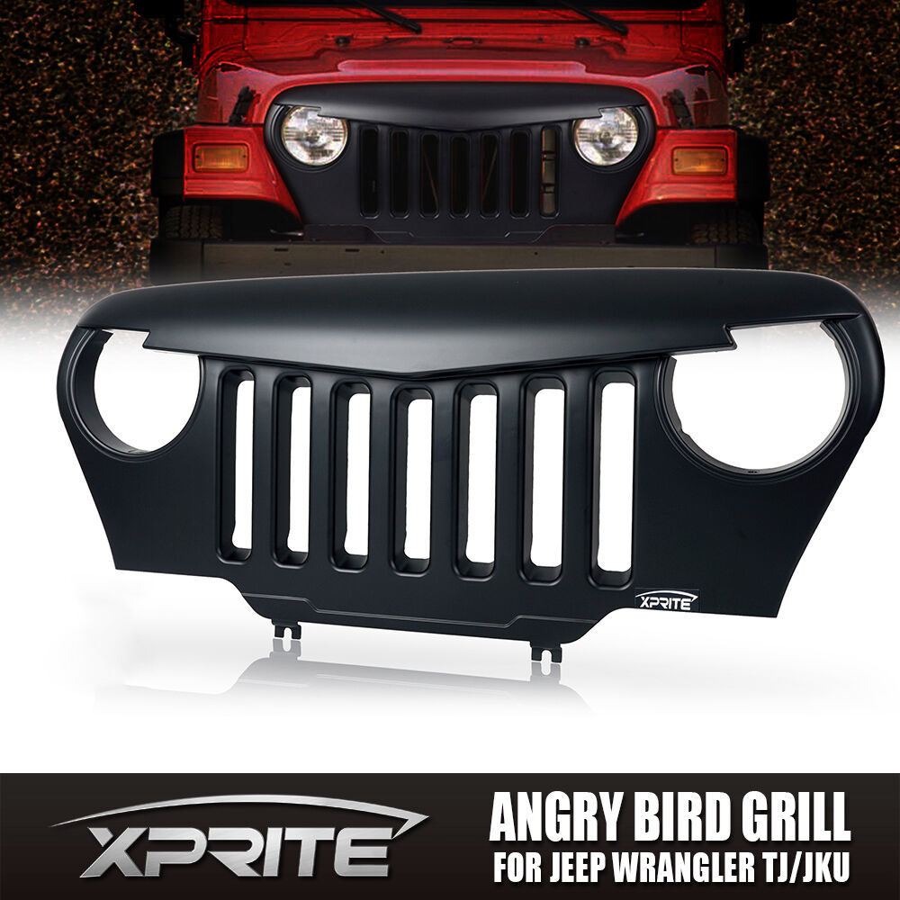 Front Matte Black Mean Angry Bird Grille Grill For Jeep