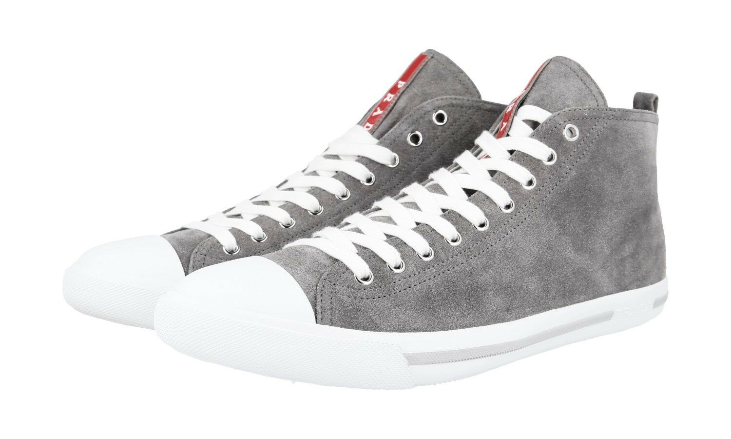 AUTH PRADA HIGH TOP SNEAKERS SHOES 4T2583 GREY SUEDE NEW 9 43 43,5