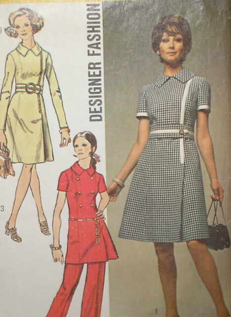 Vintage 70s Simplicity 9011 Dress or Tunic & Pants Pattern 38B sz 16
