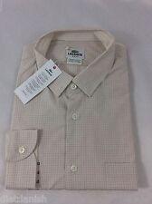 Lacoste Men's Plaid Shirt Slim Fit Flour Ispahan Boreal Blue Pocket EU 38 US S