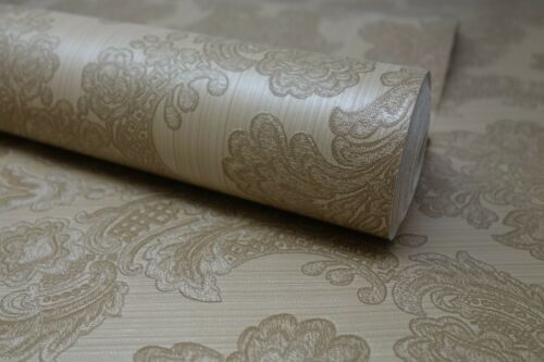 Pre-pasted Natural Beige Floral Damask Textured Feature Wallpaper FD56551