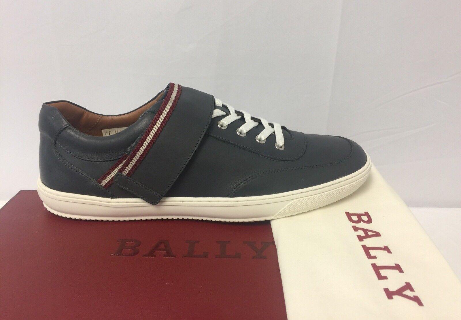 New In Box Bally 'Oasys' Dark Grey  Pelle Strap Low Top  Grey Sz 8/9  495.00 d4291f