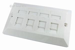 Quad-4-Port-Way-Gang-double-paroi-Visage-Plaque-faceplate-uk-spec-White-Cat-5e-5-nouvelles