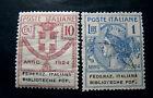 "ITALIA, ITALY REGNO-PARASTATALI 1924 ""Federaz.Italiana Biblioteche Pop.""2V.US/MH"
