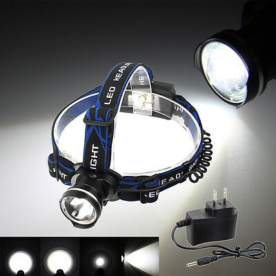 6000LM XML T6 LED Zoom Headlamp Rechargeable Head light Lamp Torch Flashlight+CH