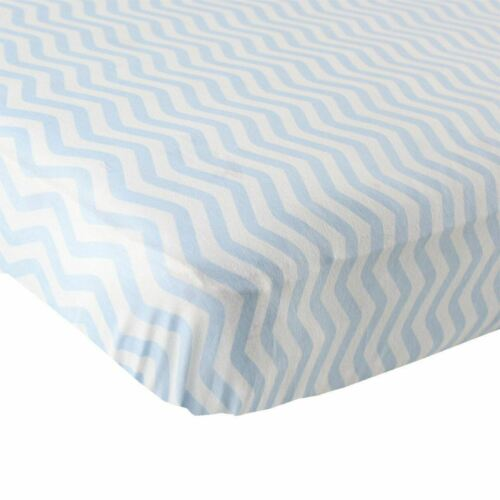 Luvable Friends Boy Fitted Knit Crib Sheet Blue Chevron