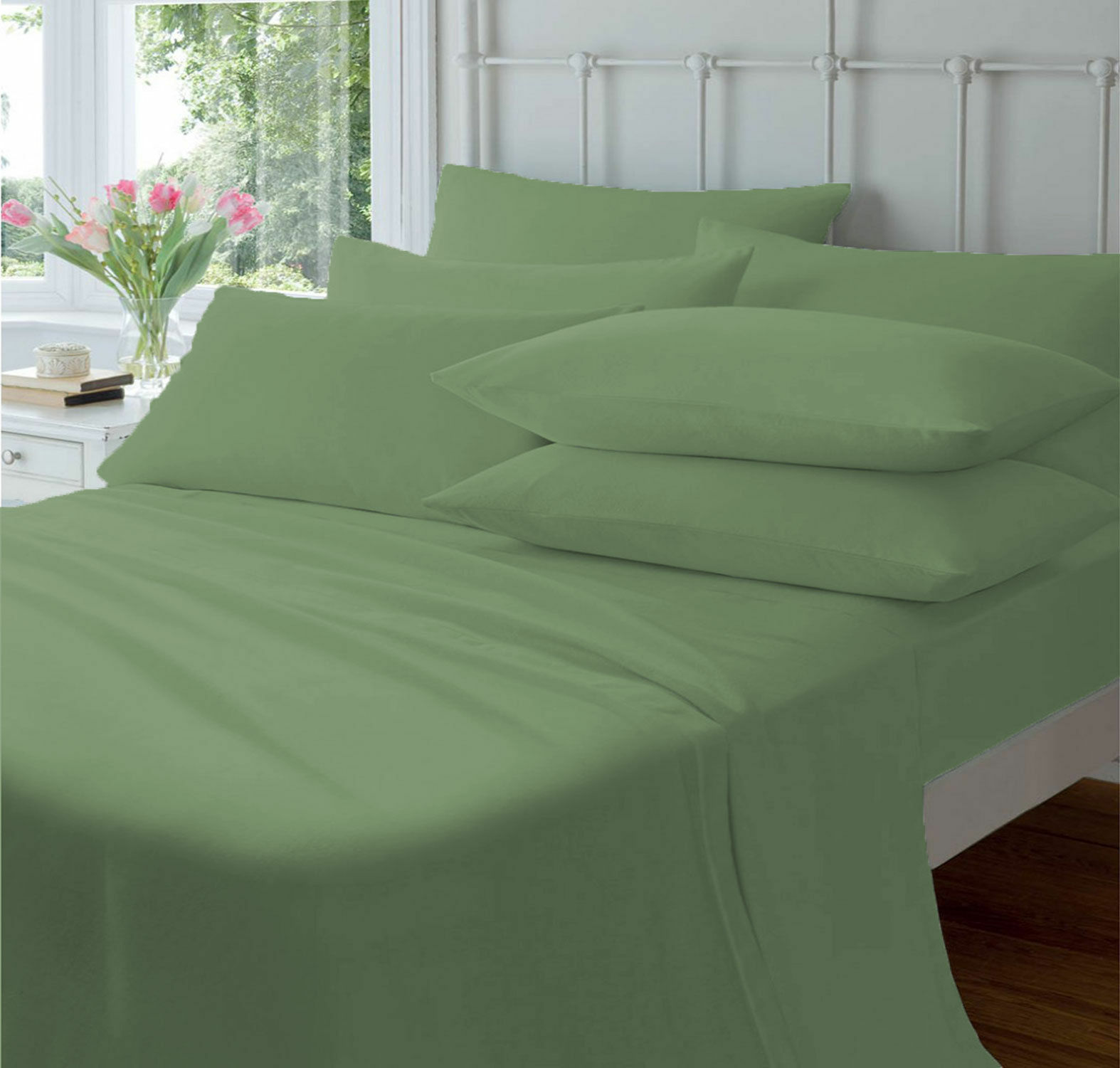 NEW 800 THREAD COUNT BED SHEET SET 100% EGYPTIAN COTTON CAL-KING SIZE MOSS COLOR