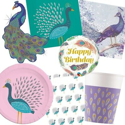 Blue Pink Peacock Feathers Party Supplies Tableware Balloons Decorations Ebay
