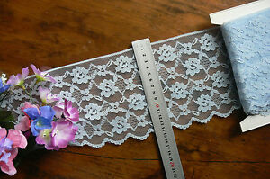 Nylon-Rayon-BLUE-Floral-Edge-Lace-5-Metre-Length-Extra-Wide-140mm-Wide-Flt1