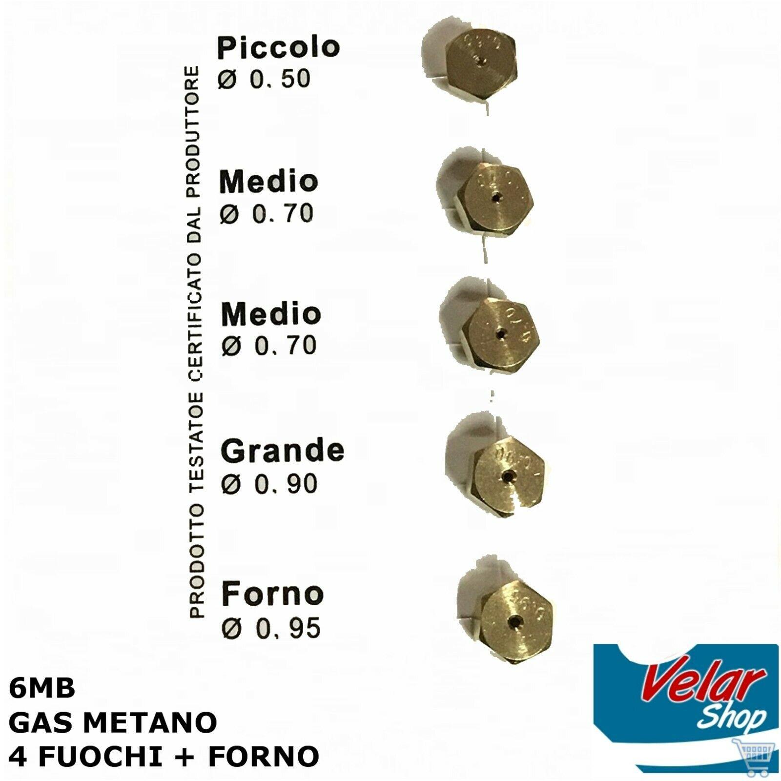 KIT UGELLI INIETTORI A GAS METANO PER CUCINE A GAS PIANI COTTURA 6 MB