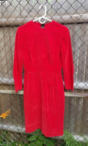 Vintage 50s 60s Bright Red Cotton Velvet Dress Lon