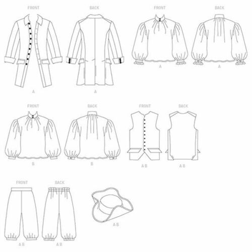 BUTTERICK 3072 Men/'s 18th Century Colonial French Revolutionary Costume Pattern