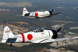new 5x7 photo: two mitsubishi a6m zero, world war ii japanese