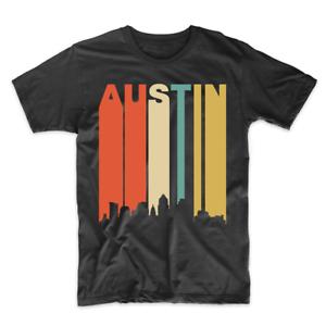 Retro 1970/'s Style Austin Texas Cityscape Downtown Skyline T-Shirt