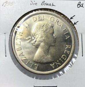 Canada-1955-Silver-Dollar-1-Die-Break-BU