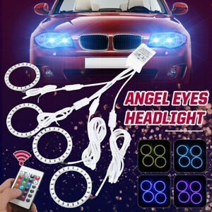 4x-70MM-Multicolore-RGB-5050-LED-Lampeggianti-Angel-Eyes-Halo-Anello-Luce-Remote