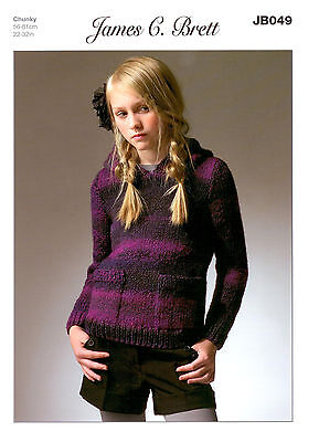 James C Brett JB049 Marble Chunky Knitting Pattern Hooded Sweater