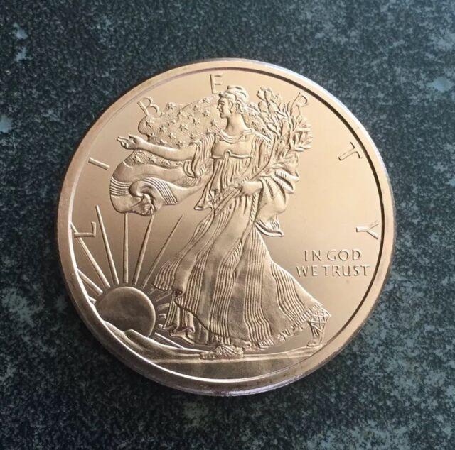BU 1oz Walking Liberty American Eagle Copper Coin .999 Bullion Round