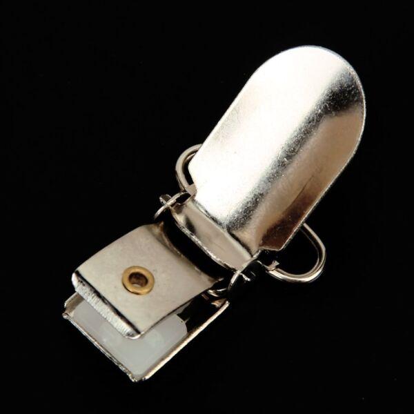 10 Tirante Chupete Metal Plateado Clips Soporte Dientes De Plástico 34mm X 24mm Embalaje De Marca Nominada