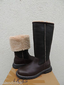 f09e6213103 Details about UGG BROOKS TALL BROWN LEATHER/ FULLY SHEARLING LINED WINTER  BOOTS, US 5/ EUR 36
