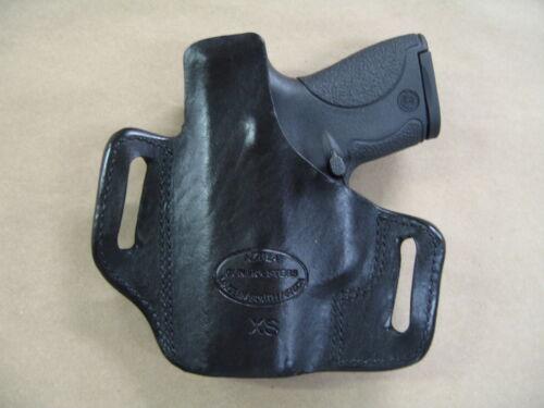 Ruger EC9s 9mm OWB Leather 2 Slot Molded Pancake Belt Holster CCW BLACK RH