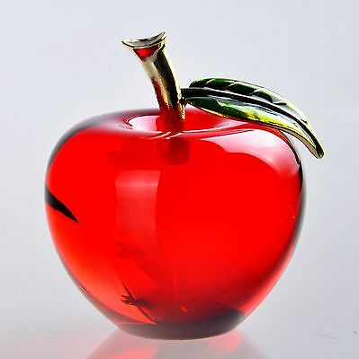 10 3D Crystal Paperweight Red Glaze Apple Figurine Glass Wedding Decoration Gift