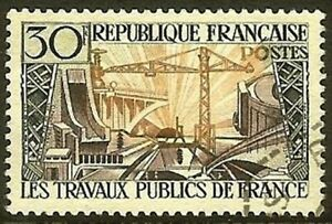 Francia-Sello-Stamp-Yvert-N-1114-034-Ingenieria-Civil-30F-034-Matasellado-MB