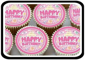 24 X HAPPY BIRTHDAY PINK CUTE EDIBLE CUPCAKE TOPPERS THICK RICE PAPER 1181