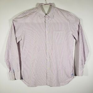 J-CREW-Mens-Button-Up-Shirt-2-ply-100-Cotton-Long-sleeve-White-Lilac-Striped