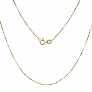 14kt Yellow Gold Box Chain Necklace 0.55mm
