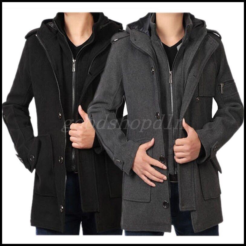 Para Hombre de invierno, chaquetón Grueso Lana  Mezcla Chaqueta con Capucha Abrigo Trench Parkas mediados de largo  ahorrar en el despacho
