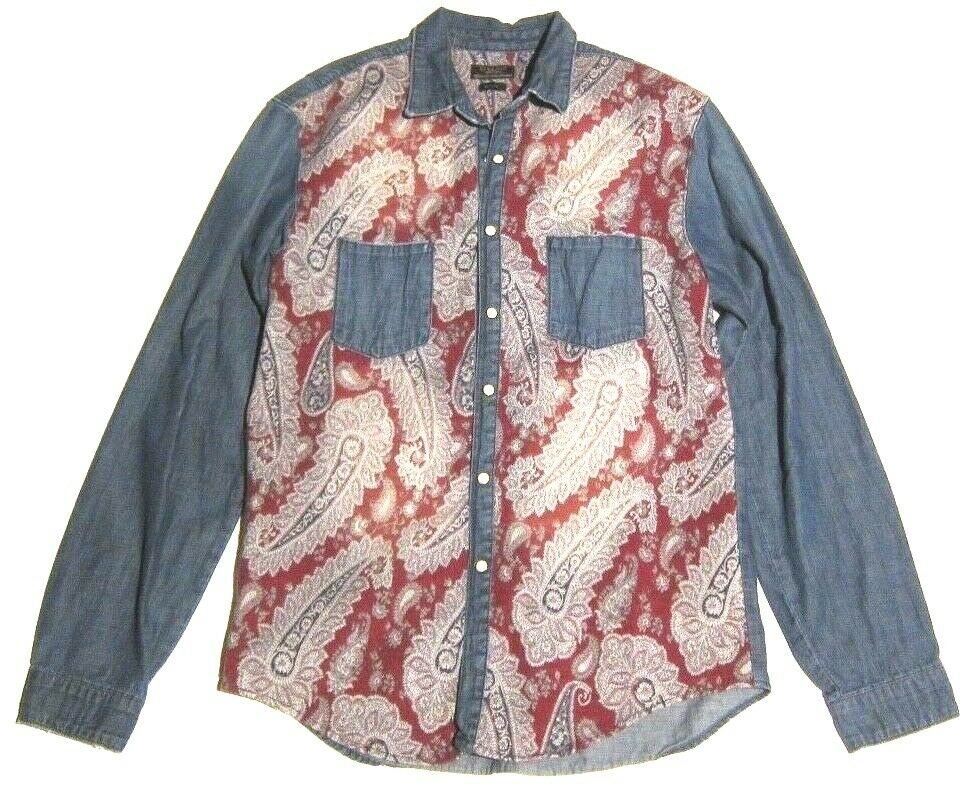 cb6d85f9 ZARA MAN Denim Button Down Slim Fit Shirt w Tapestry Print Texture Front sz  XL