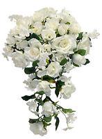 Cascade Bridal Bouquet Ivory Cream Silk Wedding Flowers Roses Bride Arch
