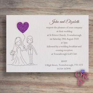 10-Wedding-Invitations-Evening-Invites-Personalised-Handmade-40-colour-choices