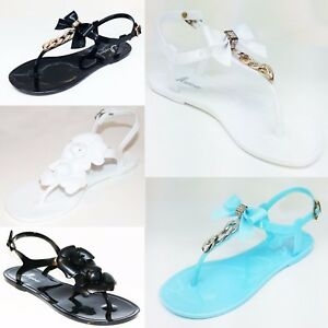 b02b32d0a647 Image is loading Women-Ladies-Jelly-Sandals-Flat-Diamante-Chain-Summer-