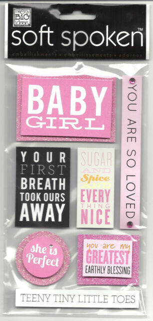 ~BABY GIRL~ Soft Spoken Dimensional Embellishment Stickers; New Daughter, PINK