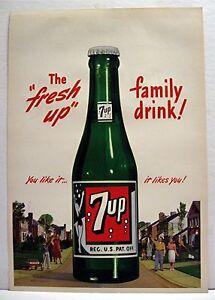 1948 7up The Fresh Up Family Drink Soda Pop Bottle Sign Ebay