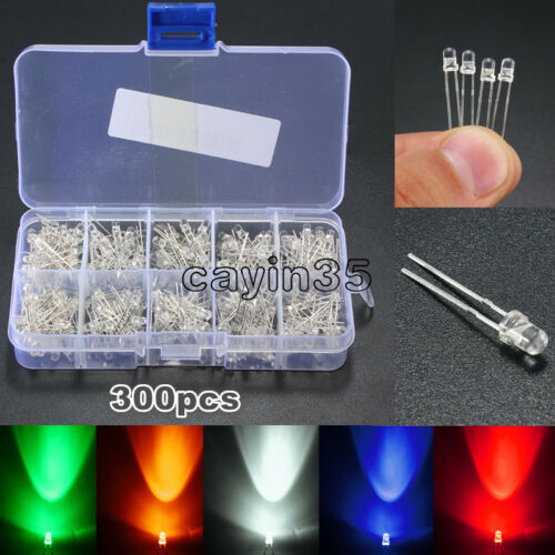 300pcs Mix 3mm Blue Red Yellow Green Round Light Emitting LED Diode Assorted UK