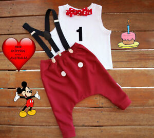 Mickey Mouse 1st Birthday Outfit.Details About Cake Smash Outfit Boy Mickey Mouse 1st Birthday Outfit Handmade Size 0