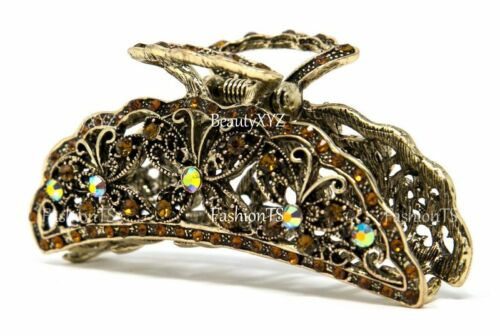 USA woman butterfly 3.25 inch metal rhinestones crystal hair claw clip pin