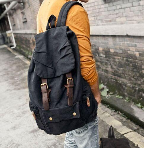 Retro Mens Canvas Handbag Casual Travel Backpack Satchel Shoulders Bag Rucksack