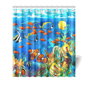 Kid Bathtub Decor Blue Ocean Undersea Fish Polyester Fabric Shower Curtain 66x72