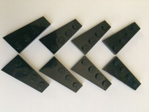 Lego New Lot Of 8 Black 4x2  Wedge Base Plate Right /& Left Wing Corner Airplane