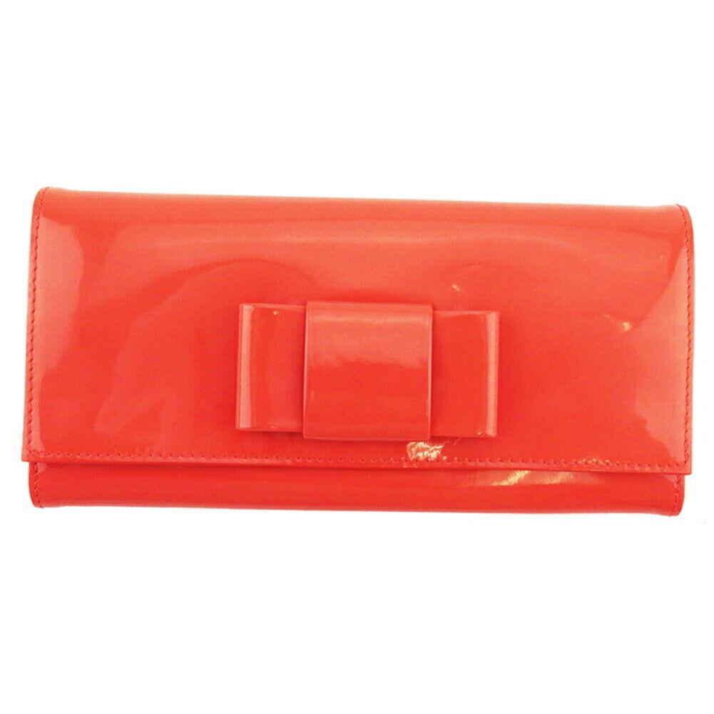 miu miu wallet ribbon orange pink enamel leather Auth used L3298