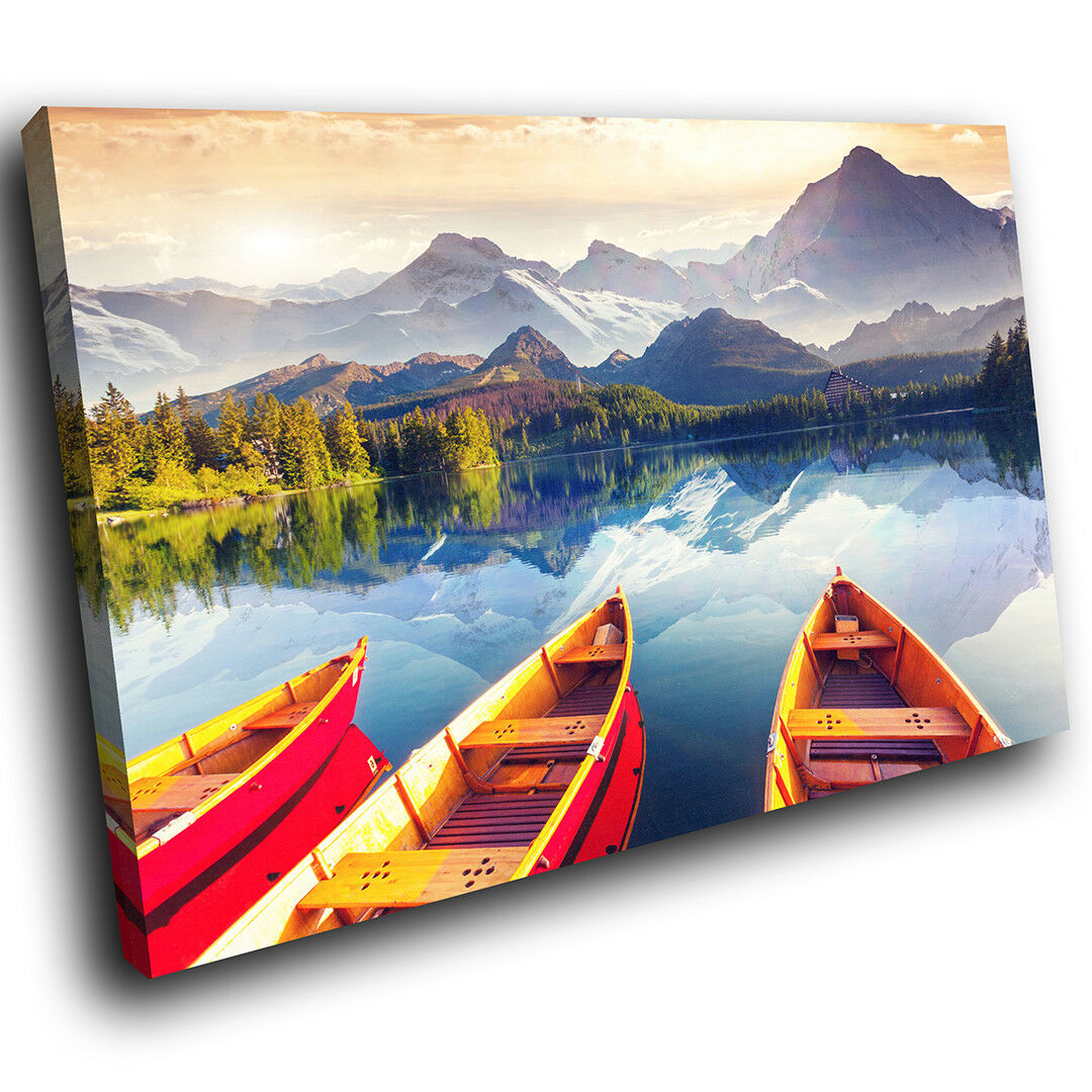 SC655 Lake Forest Mountain Boats Landscape Canvas Wall Art Large Picture Prints