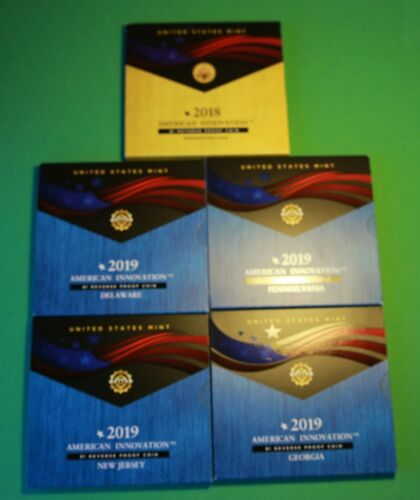 2018//19 S REVERSE PROOF Set 5 Coins  American Innovation Dollar Coin