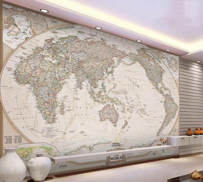 Classic HD Business World Map 3D Wallpaper Wall Decals Art Print Office Mural