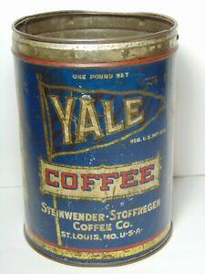 Rare-Vintage-1930s-YALE-PENNANT-ADVERTISING-1-POUND-COFFEE-TIN-ST-LOUIS-MISSOURI