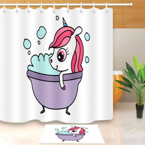 Image Is Loading Cute Unicorn Take A Bath Shower Curtain Hooks