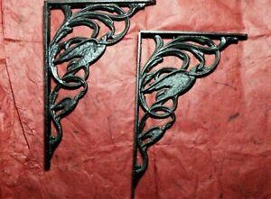 Gothic-Black-Painted-Brass-Double-Raven-Crow-Shelf-Brackets-Victorian-Bird-Pair